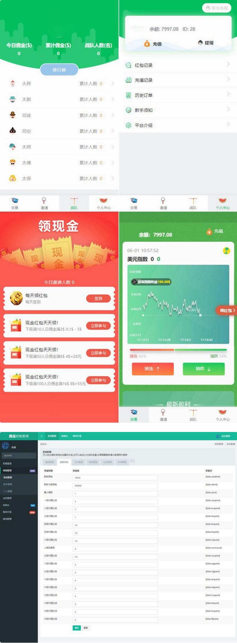 小清新绿色UI币圈推广K线正常免公众号交易系统源码 支持对接免签支付-爱资源分享