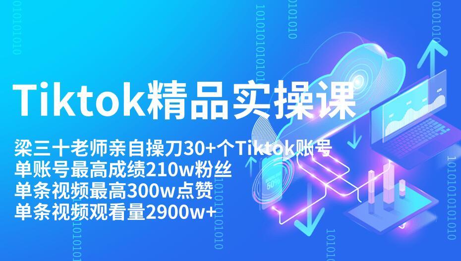 Tiktok最新精品实操视频教程 单账Tiktok账号210w粉丝和单视频300w点击-爱资源分享