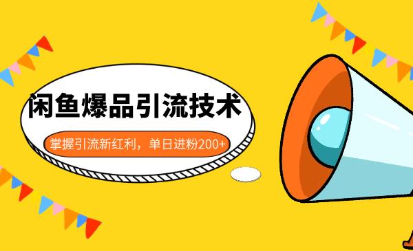闲鱼爆品引流技术视频教程 掌握引流新红利单日进粉200+-爱资源分享