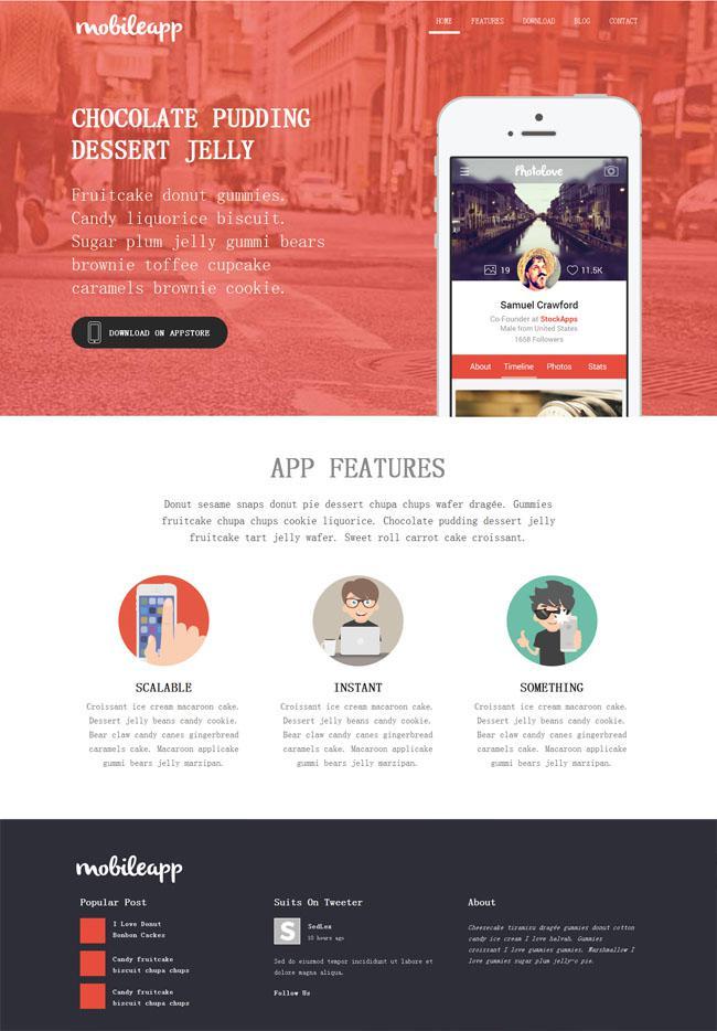 苹果APP软件公司企业模板素材下载HTML页面-爱资源分享