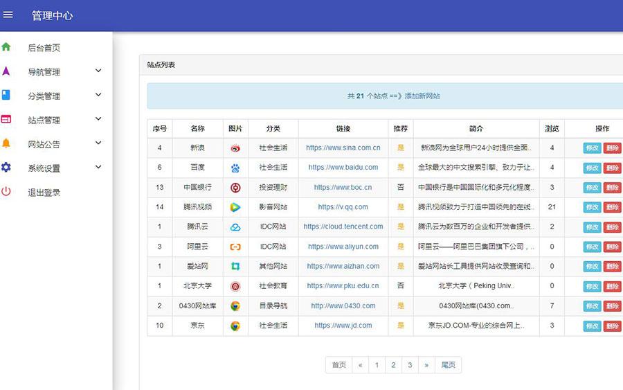 PHP站长导航资源网站导航系统源码修复版-爱资源分享